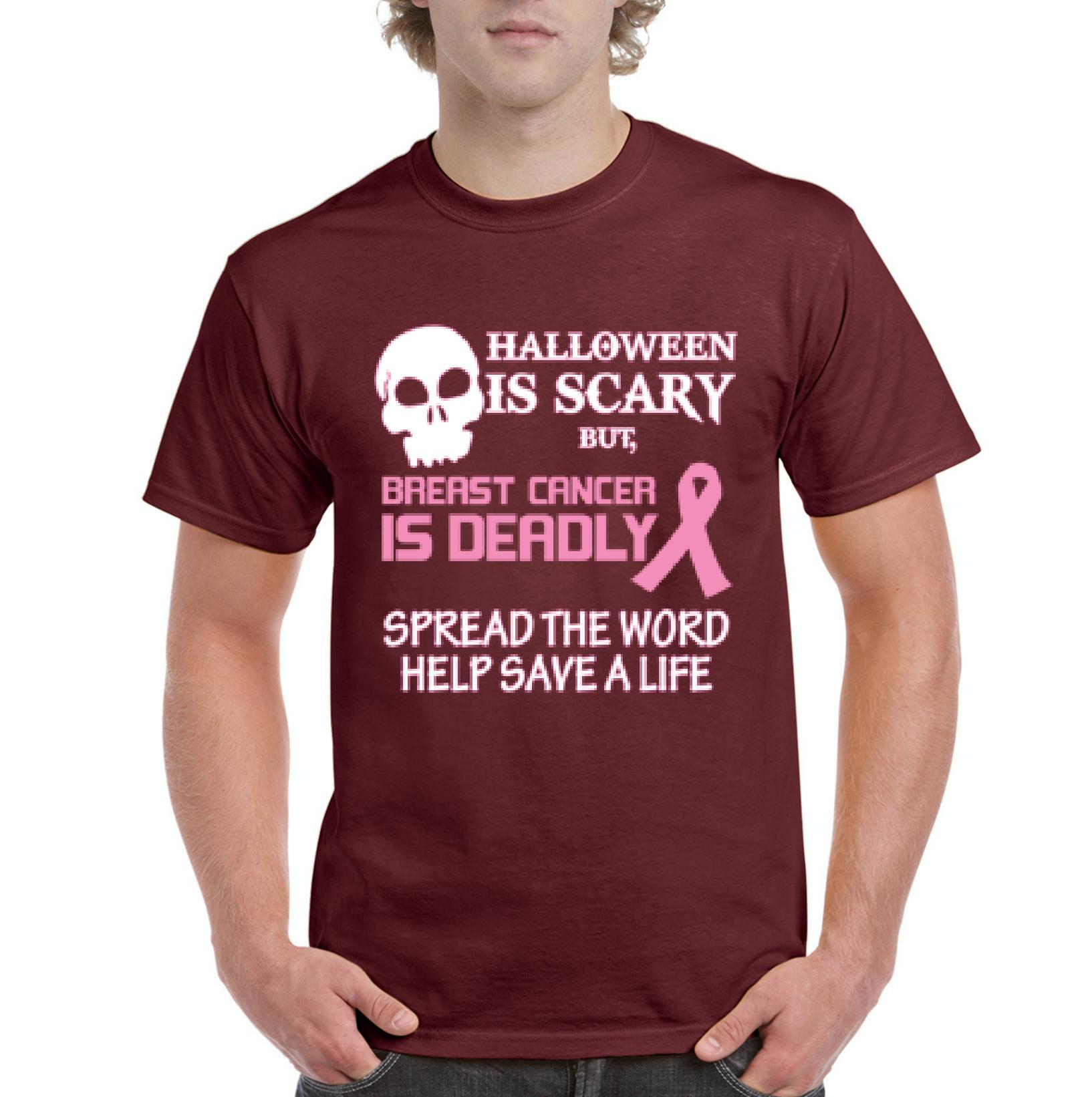J_H_I Halloween is Scary But Breast Cancer is Deadly Support Family Friend Mens Shirts