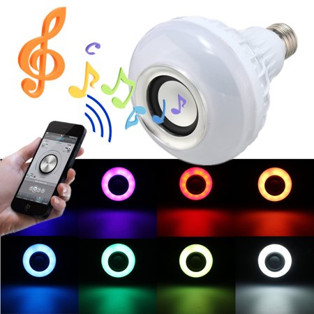 Lamp Audio - E27 LED RGB Music Bulb Color Light Mini Smart Music Audio Speaker Lamps Colorful Music Playing and Lighting Wifi Control For Home Party Stage