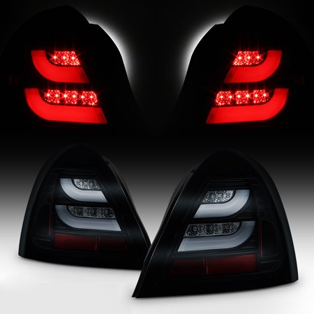 Fits 2004-2008 Pontiac Grand Prix Black Smoked LED Tube Tail Lights