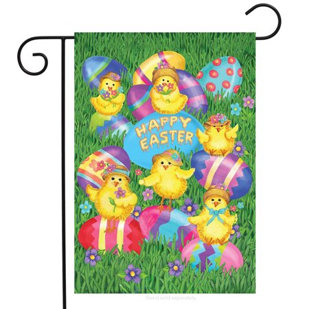 Happy Easter Chicks Garden Flag Decorated Eggs Briarwood Lane 12.5