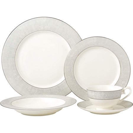 Royalty Porcelain Classic Silver 20-pc Dinnerware Set 'Platinum Band', Premium Bone China Porcelain Fine China Platinum Dinnerware Set