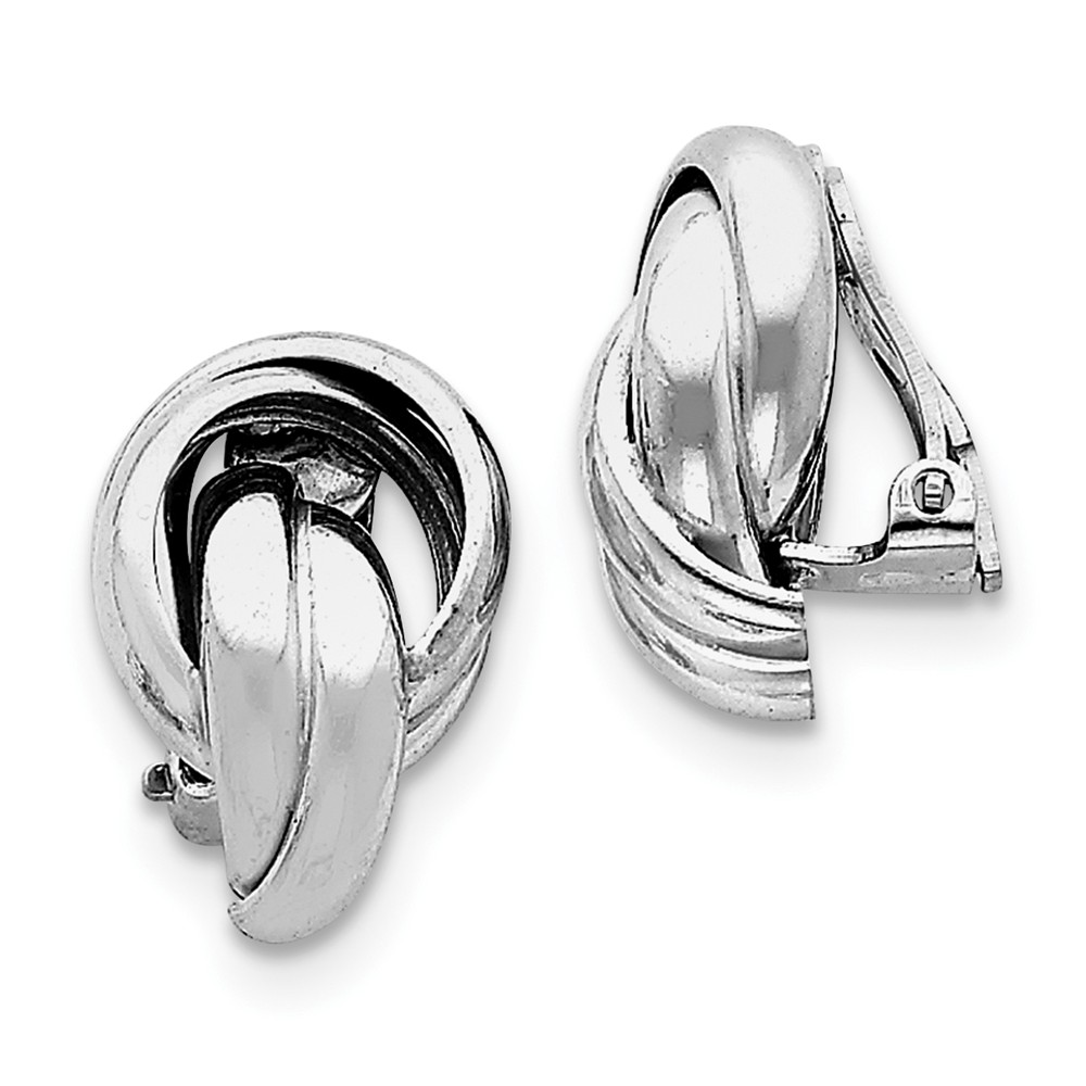 Sterling Silver Polished Knot Design Clip Back Non-Pierced Earrings - 5.2 Grams