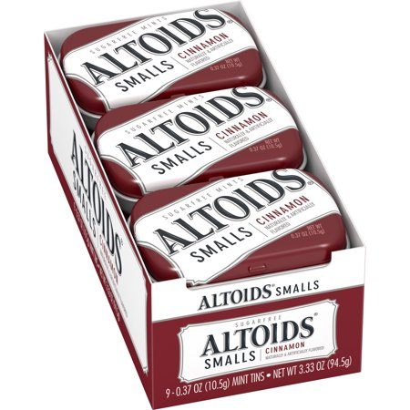 Altoids Smalls Cinnamon Sugarfree Mints, 0.37 ounce (9 Packs) Cinnamon Flavor Mints