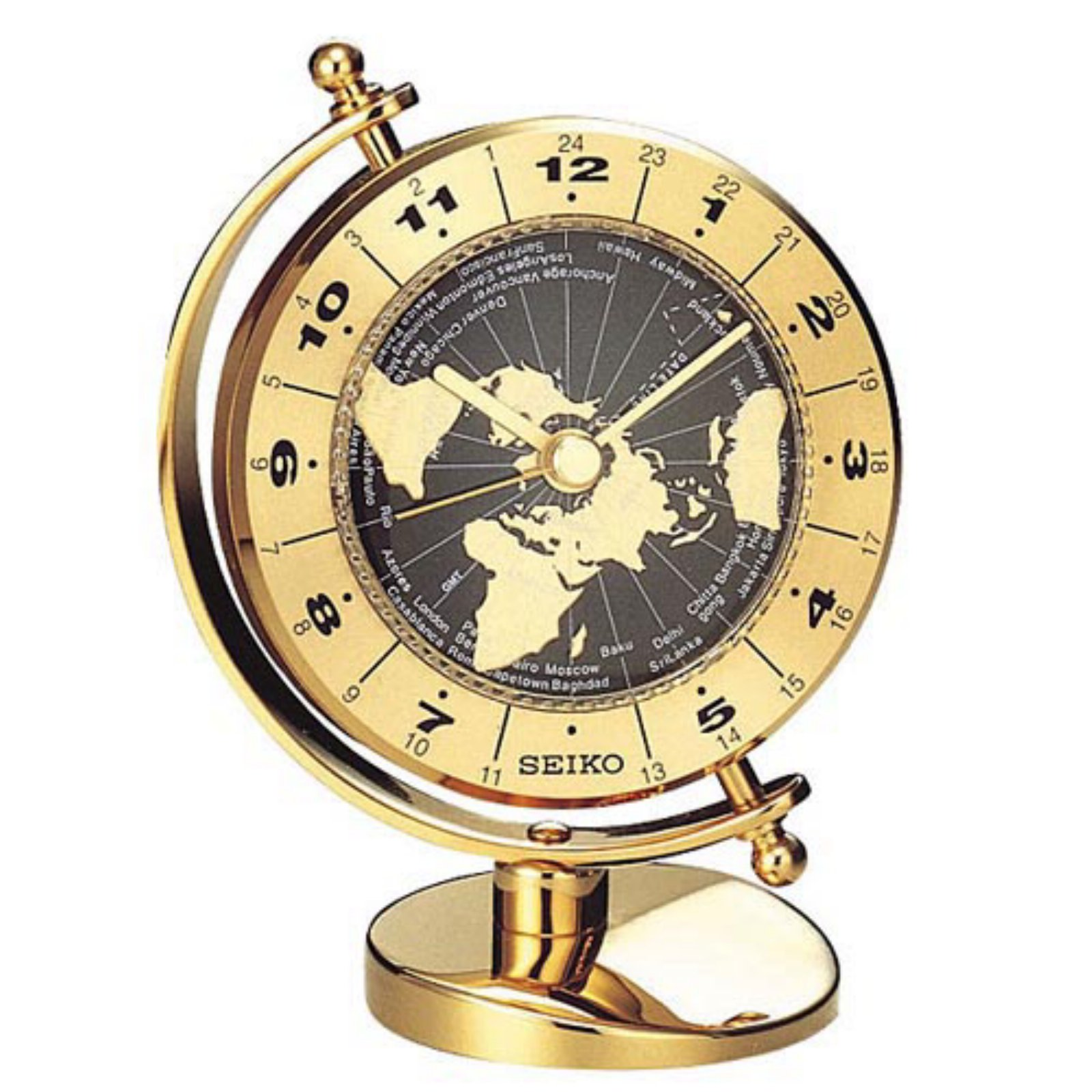 Seiko Clock Seiko Brass World Time Desktop Clock
