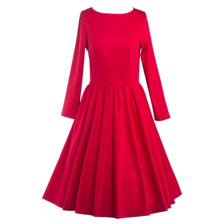Women Vintage Style Dress Retro 50S 60S Rockabilly Swing Simple Color Dresses for Autumn - Style Me Girl 60s