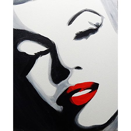 Canvas Pop Art Marilyn By Ed Capeau 16X12 Canvas Gallery Wrap Giclee Edition Art Print Poster Wall Decor Marilyn Monroe Color Splash Red Lips Hollywood Icon Black White  As Seen On Ed Tv