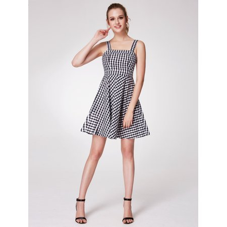 Alisa Pan Women's Fashion A-Line Spaghetti Strap Smocked Back Short Fit and Flare Gingham Casual Dresses for Women - Halloween Smocked Dresses