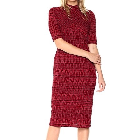 London Times NEW Red Womens Size 10 Printed Mock Neck Sheath Dress