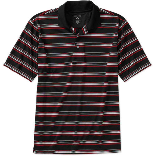 George Big Men's Short Sleeve Stripe Golf Performance Polo