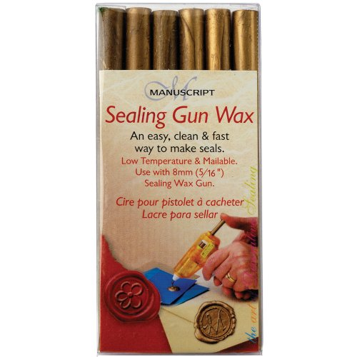 Manuscript Pen Sealing Gun Wax Stickers, Gold, 6-Pack Multi-Colored