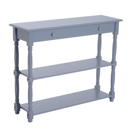 "40"" Pine Wood Entryway Console Table - Gray"