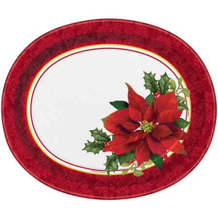 Holly Poinsettia Christmas Oval Paper Plates, 12.25 in, 8ct