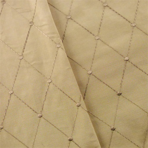 Oat Beige Diamond Embroidered Taffeta Drapery Fabric, Fabric By the Yard