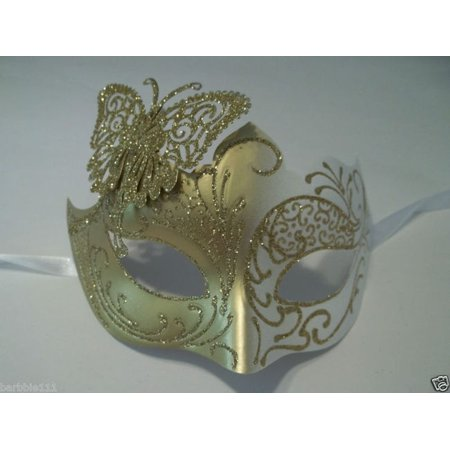 White Gold Butterfly laser cut  Mardi Gras Masquerade Mask Adult](Butterfly Masks)