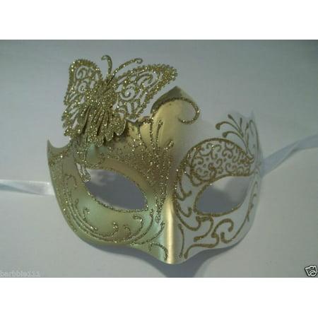 White Gold Butterfly laser cut  Mardi Gras Masquerade Mask Adult](Masquerade Masks White And Gold)