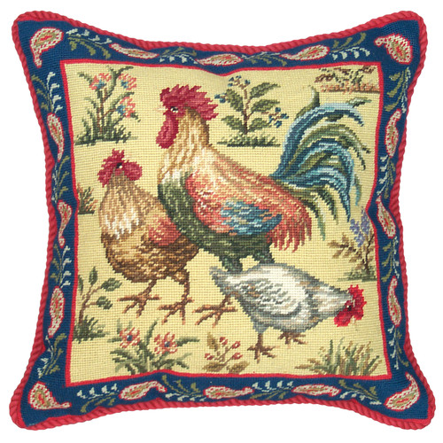 123 Creations Rooster Needlepoint Wool Throw Pillow
