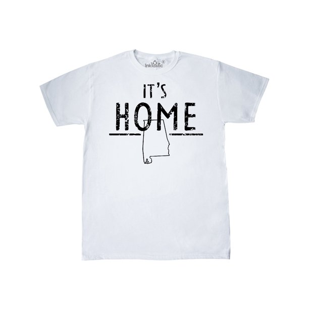 It's Home- Alabama State Outline DIstressed Text T-Shirt