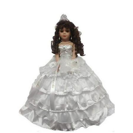 Porcelain Quinceanera Umbrella Doll (Quince Anos) White Ceremony Centerpiece Doll 18