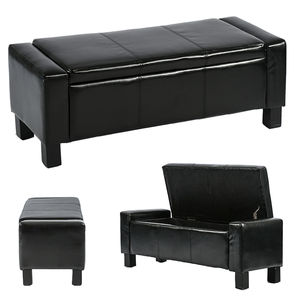 "Ottoman Storage Ottoman Bench Bedroom Bench With Faux Leather Rectangular Large 42""Tufted,Black"