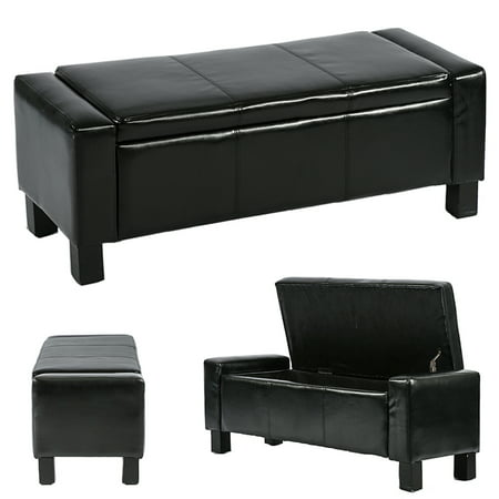 Ottoman Storage Ottoman Bench Bedroom Bench With Faux Leather Rectangular Large 42 Tufted Black