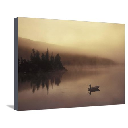 Fishing, Little Charlotte Lake, Chilcotin Region, British Columbia, Canada. Foggy Sunset Sunrise Photo Stretched Canvas Print Wall Art By Chris (Chris Brown Best Photos)