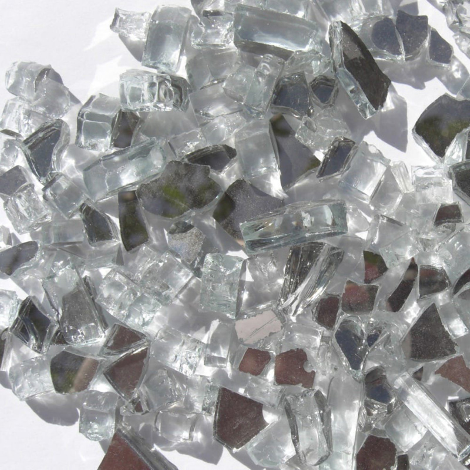 Tretco 0.25 in. Crystal White Reflective Fire Glass Crystals