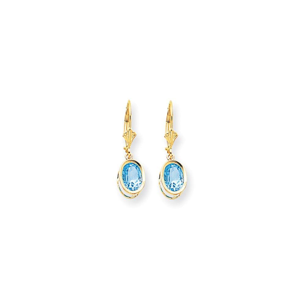 14k Yellow Gold 8x6mm Oval Blue Topaz leverback Earrings. Gem Wt- 2.7ct (1IN x 0.3IN )