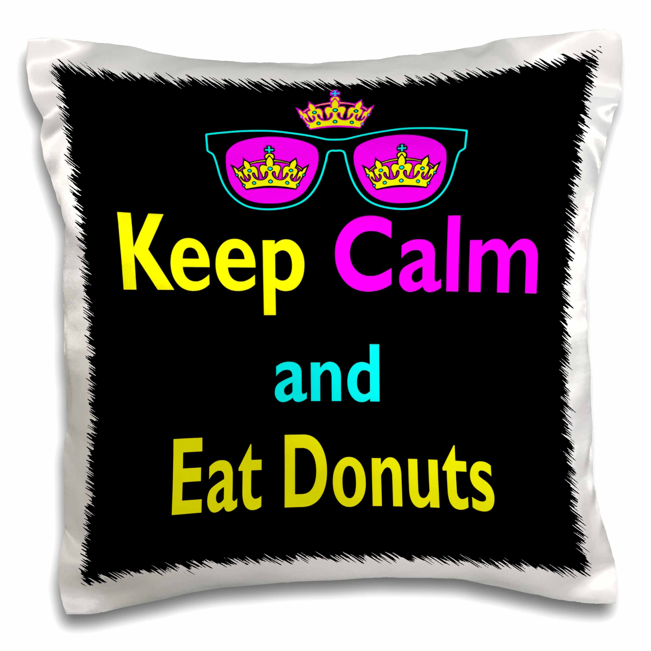 3dRose CMYK Keep Calm Parody Hipster Crown And Sunglasses Keep Calm And Eat Donuts, Pillow Case, 16 by 16-inch