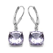 Genuine Cushion Pink Amethyst and White Topaz Earrings in Sterling Silver