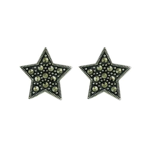 Vera and Co 2M-2225Z Sterling Marcasite Star Earrings