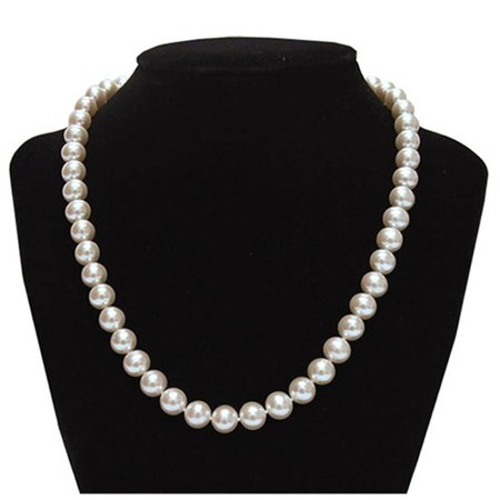 Elegant 9.5-10mm White Freshwater Cultured Pearl Necklace In 925 Sterling (Pearl Wire Necklace)