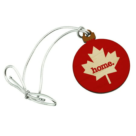 Canada Maple Leaf Home Country Solid Red Officially Licensed Mini Small Tiny Wood Christmas Tree Holiday Ornament ()