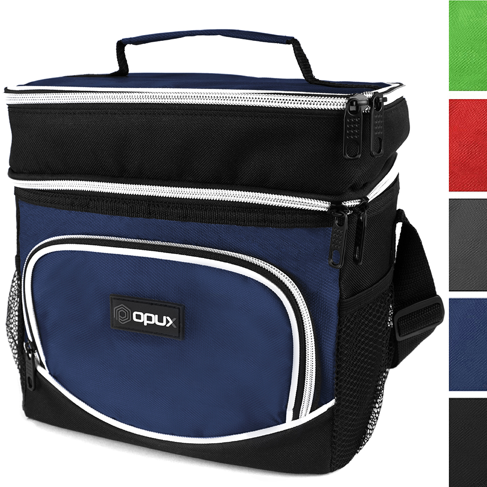 opux premium thermal insulated dual compartment lunch bag for men | double deck reusJle lunch tote with shoulder strap, soft leakproof liner | medium lunch box for work, office (heather navy)