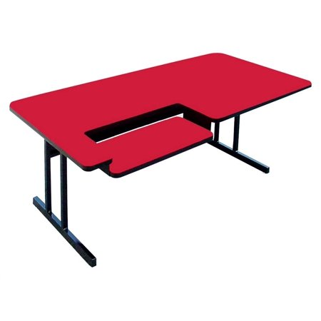 High Pressure Computer Table - Bi Level Work Station (30 in. x 48 in./Red) ()