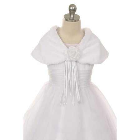 Kids Dream White Flower Shoulder Wrap Elegant Fur Shawl Girl 2T