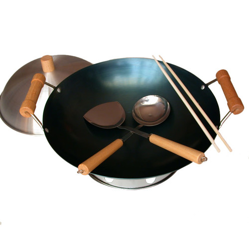 Taylor & Ng 7 Piece 14'' Preseasoned Double Handle Round Bottom Wok Set