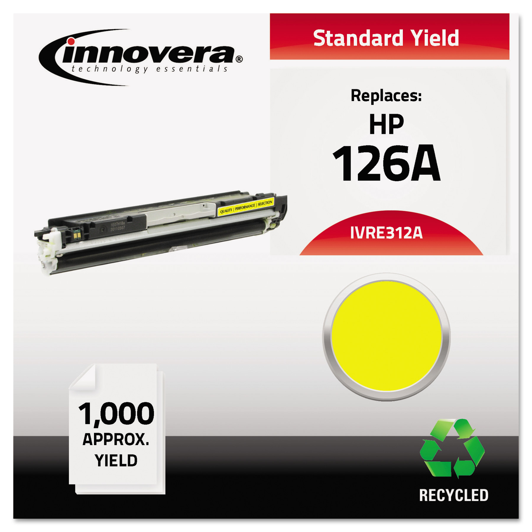 Innovera E312A Compatible, Remanufactured, 126A (CE312A) Yellow Toner Cartridge