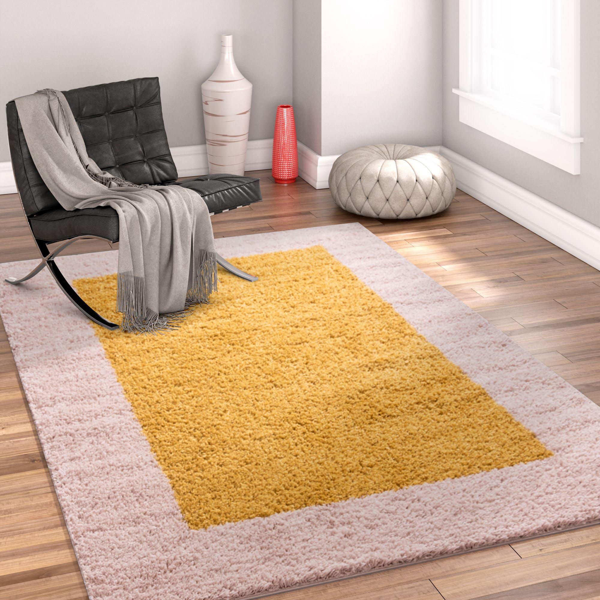 Porta Border Modern Geometric Shag 3x5 (3'3'' x 5'3'') Area Rug Gold Beige Plush Easy Care Thick Soft Plush Living Room