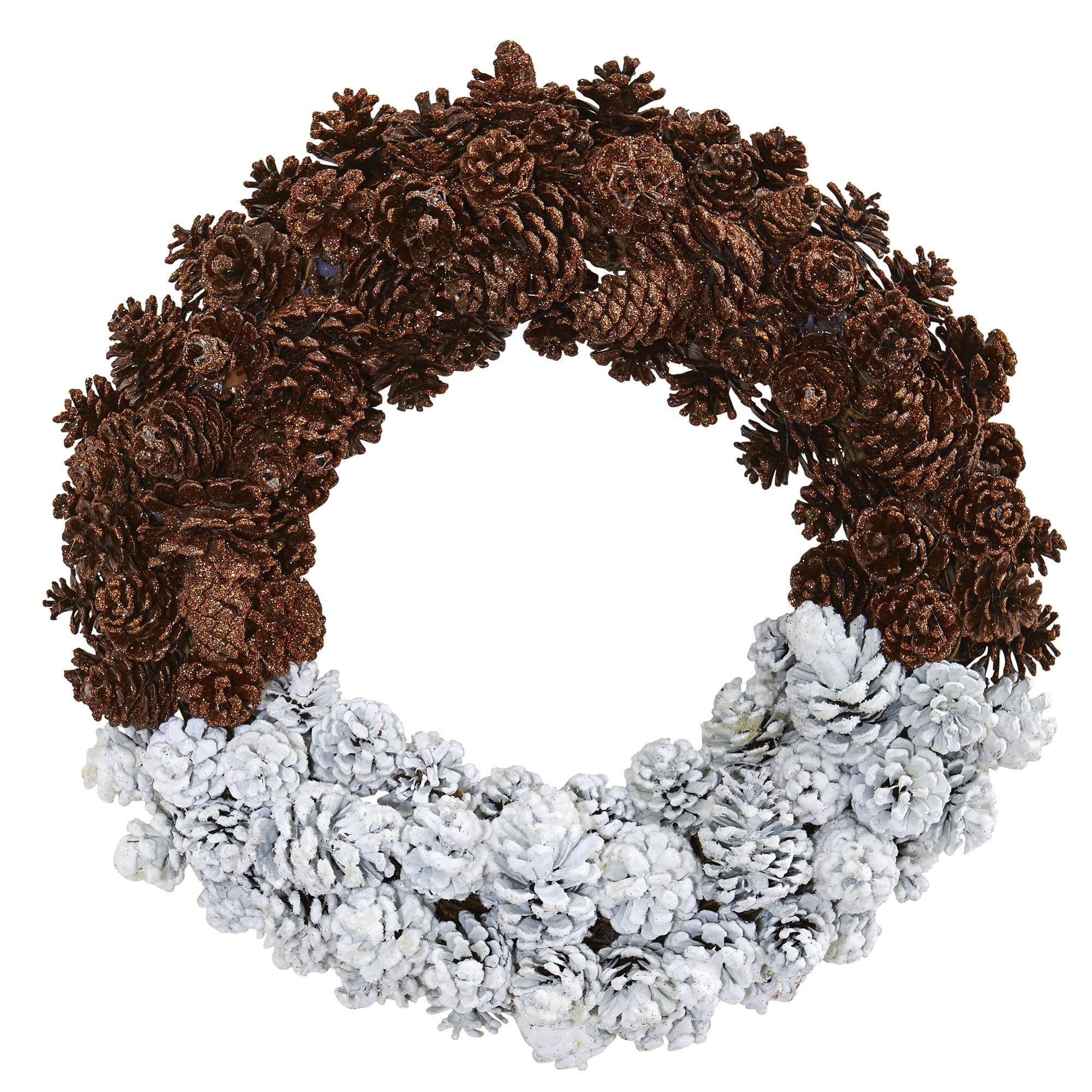 "Nearly Natural 20"" Frosted Pine Cone Wreath"