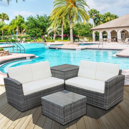 Clearance!4 Piece Outdoor Patio Conversation Set, 2 Rattan Wicker Chairs with Glass Table and Storage Cabinet, All-Weathe Patio Sofa Furniture Set with Cushions for Backyard, Porch, Garden, Pool,L2122 ()