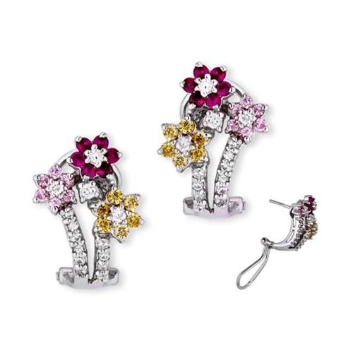 CZ EAR1333 C. Z.  Ruby Pink Sapphire Canary Diamond Flower Clip With Post Earrings