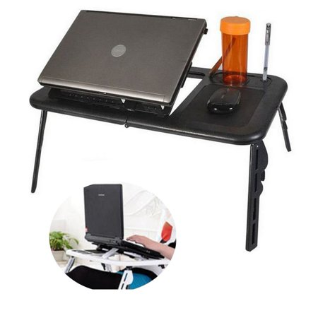 Foldable Laptop Stand with Built-In Cooling Fans and Mouse Pad Tray, Portable Laptop Stand for Bed, Couch, and Table