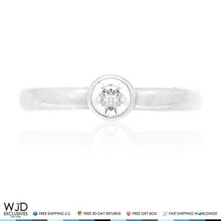 Diamond White Toe Ring (14k Solid White Gold Bezel Set Round Cut Simulated White Diamond Toe Ring)