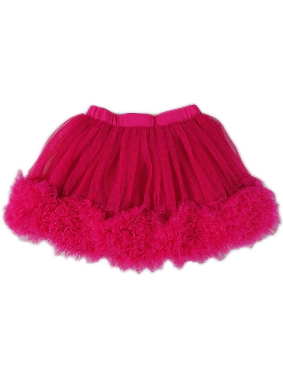 Wenchoice Girls Hot Pink 3-D Rose Trim Flouncy Tutu Skirt