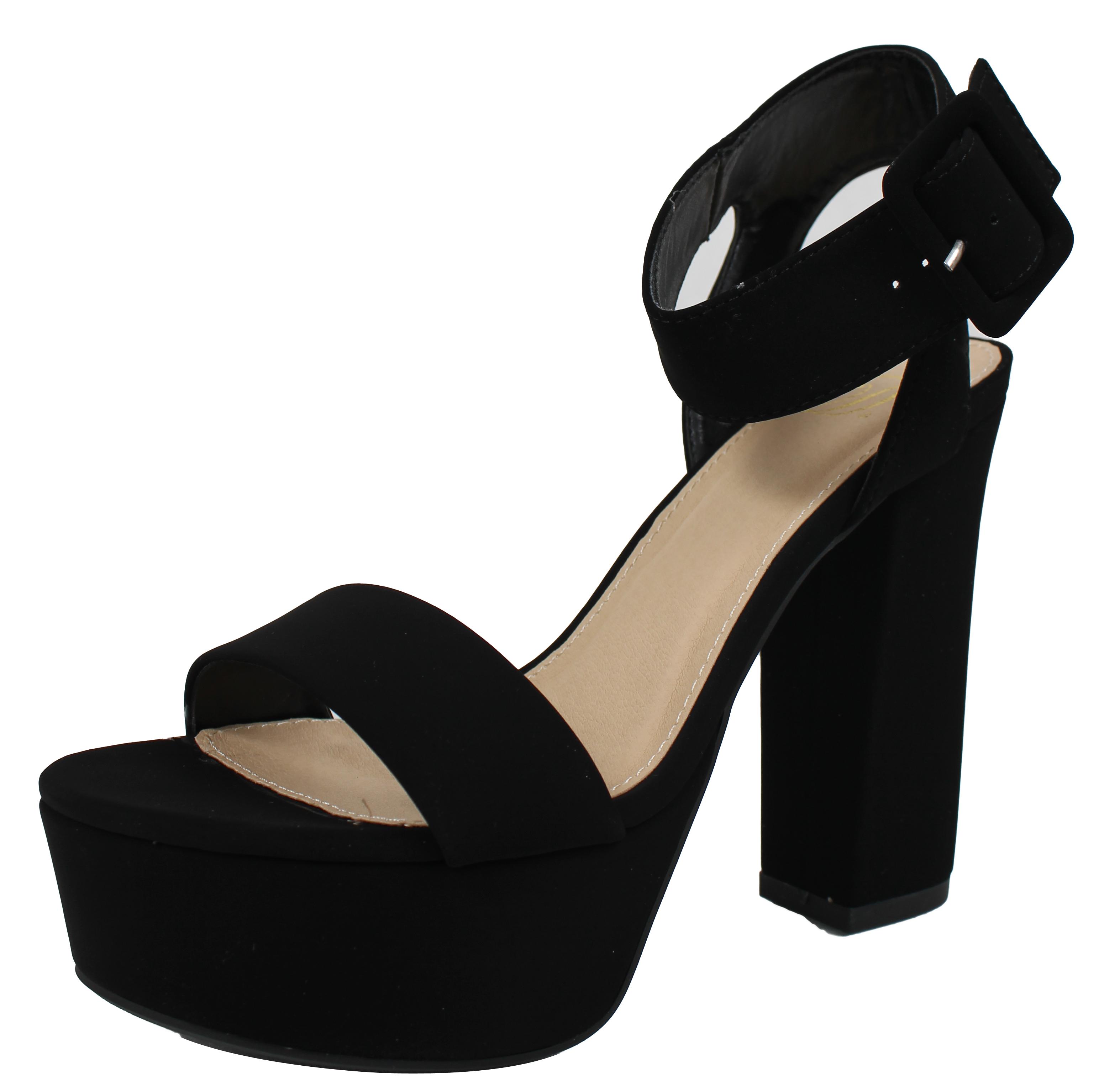 eaa6c17e210 Delicious - Delicious Women s Open Toe Thick Wide Strap Ankle Strap Block  Heel Sandal (Black