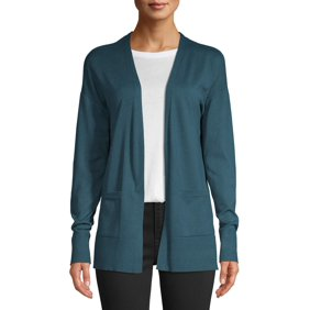 Denim & Co. Women's Sweater Sz S Active French Terry Cascade Green A272233