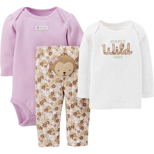 Child Of Mine by Carter's Newborn Baby Girl Bodysuit, T-shirt, and Pants Outfit Set