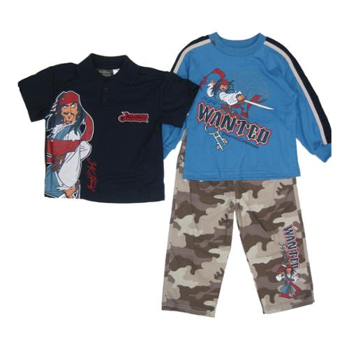 Pirates Of The Caribbean Little Boys Navy Movie Character Camo 3 Pc Set 2-4T
