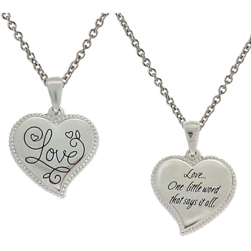 "Connections from Hallmark Stainless Steel ""Love"" Heart Pendant, 18"""
