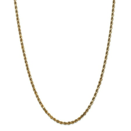 - Solid 14k Yellow Gold Big Heavy 3.5mm Diamond-Cut Rope with Lobster Clasp Chain Necklace 16